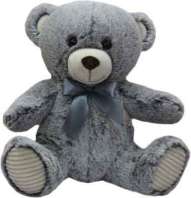 My Baby Excels Teddy Bear Plush with Satin Bow  Grey 25cm   25 cm Grey My Baby Excels Soft Toys