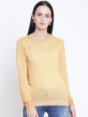 Crimsoune Club Solid Round Neck Casual Women Yellow Sweater