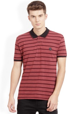 Derby Jeans Community Striped Men Polo Neck Maroon T-Shirt