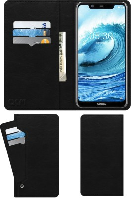 ACM Flip Cover for Nokia 5.1 Plus(Black, Cases with Holder)