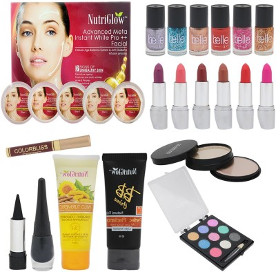 NutriGlow SET OF 1 ADVANCED META FACIAL KIT + 6 NAIL PAINTS + 6 LIPSTICKS + 1 SINDOOR + 1 KAJAL + 1 EYE LINER + 1 EYE SHADOW + 1 BB CREAM + 1 TURMERIC FACE WASH + 1 (5-IN-1) COMPACT(Set of 20)