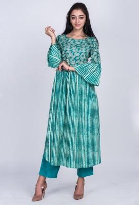 Divastri Women Printed Anarkali Kurta(Green)