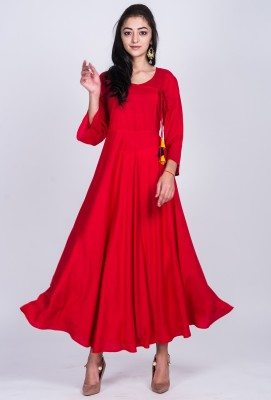 Divastri Women Solid Anarkali Kurta(Red)