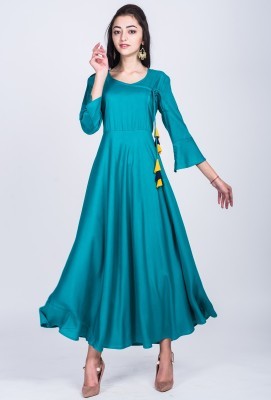 Divastri Women Solid Anarkali Kurta(Blue)