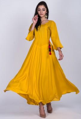 Divastri Women Solid Anarkali Kurta(Yellow)