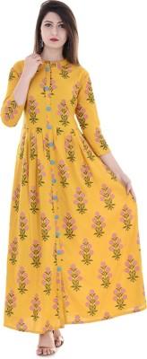 Stylum Wedding Block Print Women Kurti(Yellow)