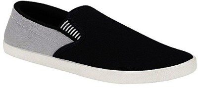 Genial New Stylish Loafers Shoes Slip On Sneakers For Men(Black, Grey)