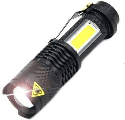Chartbusters Mini Flashlights Cree Q5 LED Torch COB Lights Tactical Flash Lights 4 Modes 7w Adjustable Focus Zoomable Portable LED Flashlight Torch(Black : Rechargeable)