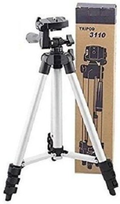 ZEVORA 3110 Portable Foldable Camera Tripod with Mobile Clip Holder Bracket, Fully Flexible Mount Cum Tripod, Standwith 3D Head & Quick Release Plate Tripod(Silver, Black, Supports Up to 3000)