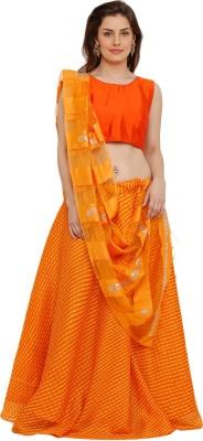 Salwar Studio Leheriya Stitched Lehenga Choli(Orange)