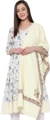 Weavers Villa Wool Blend Embroidered Women Shawl(White)