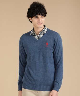 U.S. Polo Assn Solid V-neck Casual Men Blue Sweater