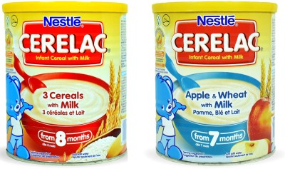 Nestle 3Cereal With Milk 400g + Apple & Wheat With Milk 400g Cereal(800 g, Pack of 2)