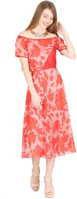 Raas Pret Women Fit and Flare Red Dress
