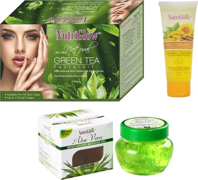NutriGlow 1 pack of Natural green tea facial kit + 1 wild turmeric + 1 aloe-vera gel(Set of 3)