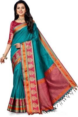 M.S.Retail Woven Kanjivaram Dupion Silk Saree(Blue) at flipkart
