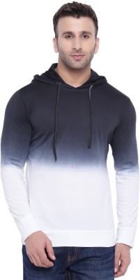 Gritstones Ombre Men Hooded White, Black T-Shirt