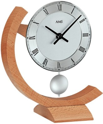 AMS Analog 22 cm X 18 cm Wall Clock(White, With Glass)
