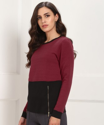 United Colors of Benetton Full Sleeve Chevron Women Sweatshirt at flipkart