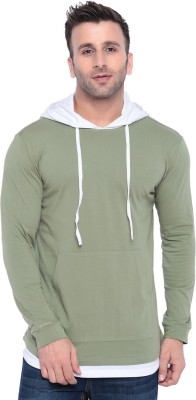Gritstones Color Block Men Hooded Green T-Shirt