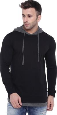 Gritstones Color Block Men Hooded Black, Grey T-Shirt