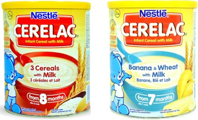 Nestle 3 Cereal With Milk 400g + Banana & Wheat With Milk 400g Cereal(800 g, Pack of 2)