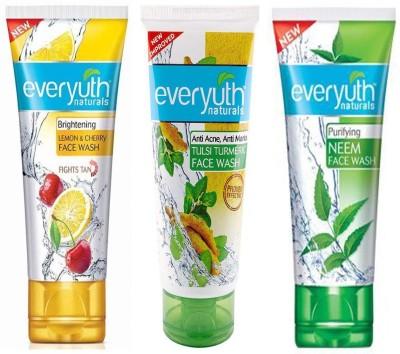 Everyuth Naturals Brightening LEMON and CHERRY Facewash, TULSI TURMERIC, NEEM 50g x 3 Face Wash(150 g)