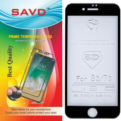 SAVD Tempered Glass Guard for 5D Curved Full Cover Tempered Glass Screen Protector iPhone 7G/8G Black Color 5D Coloured Hardness 9H Anti-Scratch,Case Friendy Tempered Glass Black(Pack of 1)