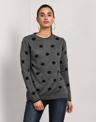 METRONAUT Polka Print Crew Neck Casual Women Grey Sweater