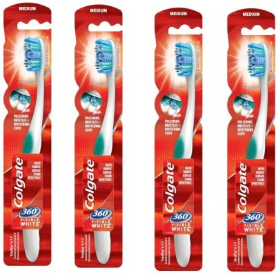Colgate Visible White Toothbrush Whole Mouth Clean With Whitening combo pack of 4 Ultra Soft Toothbrush(Pack of 4)