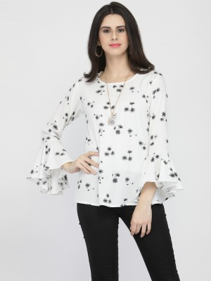 DARZI Casual Bell Sleeve Floral Print Women White Top