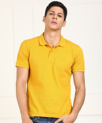 Peter England University Printed Men Polo Neck Yellow T-Shirt