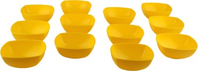 Homray Opulence Microwave Safe   Unbreakable Yellow Square 350 ml Bowls  Set of 12  Polypropylene Dessert Bowl Yellow, Pack of 12