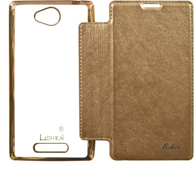 Coverage Flip Cover for Sony Xperia C Golden