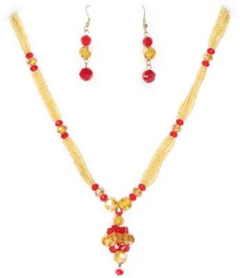 Bbl Glass Jewel Set Red, Gold Bbl Jewellery Sets
