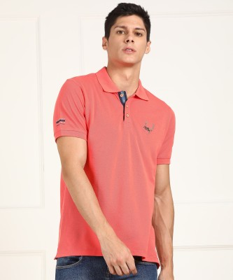 Allen Solly Jeans Solid Men Polo Neck Orange T-Shirt