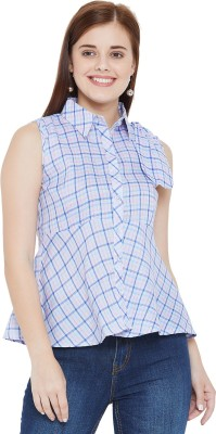 The Dry State Casual No Sleeve Checkered Women Blue Top