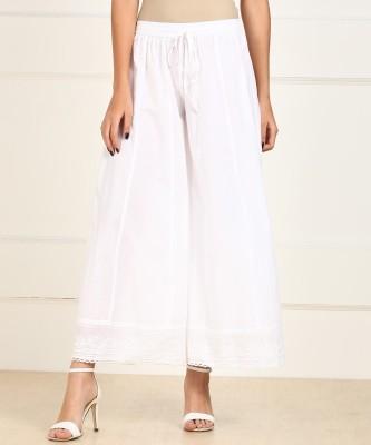 Biba Relaxed Women White Trousers