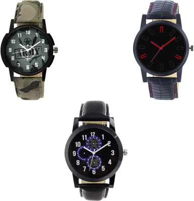 NEUTRON Modish Casual army Green And Black And Color 3 Watch Combo (B21-B28-B98) For Boys And Men New Unique Combo Watch  - For Boys