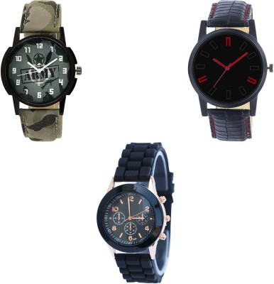 NEUTRON Modern Casual army Green And Black And Color 3 Watch Combo (B21-B28-B65) For Boys And Men New Unique Combo Watch  - For Boys
