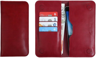 Emartbuy Wallet Case Cover for Multilaser MS50X / MS50G(Dark Red Plain, Dual Protection, Artificial Leather)