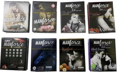 Manforce Mini Fruity & Flavour Basket (24 Condoms) Condom(Set of 8, 24S)
