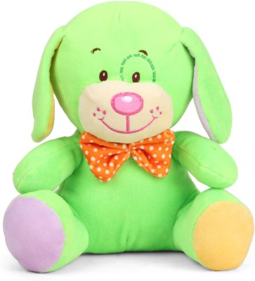 My Baby Excels Dog Plush Green Colour With Orange Bow 20 cm   20 cm Multicolor My Baby Excels Soft Toys