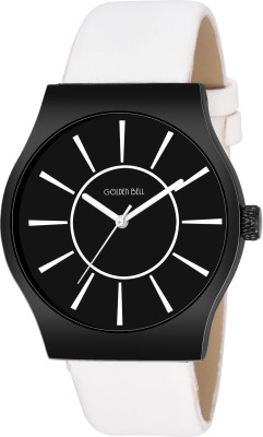 Golden Bell GBA-053 New Generation Black Dial White Genuine Leather Strap Wrist Watch  - For Men
