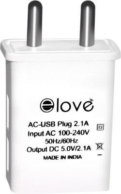 ELOVE 2.1 Amp Dual USB Port Wall Charger Adapter Mobile Charger 2.1 A Multiport Mobile Charger White ELOVE Wall Chargers