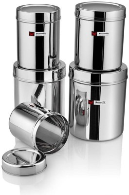 Butterfly Stainless Steel Canister / Storage Container Set of 5  - 1000 ml, 1300 ml, 1800 ml, 2400 ml, 3000 ml Steel Grocery Container(Pack of 5, Silver)