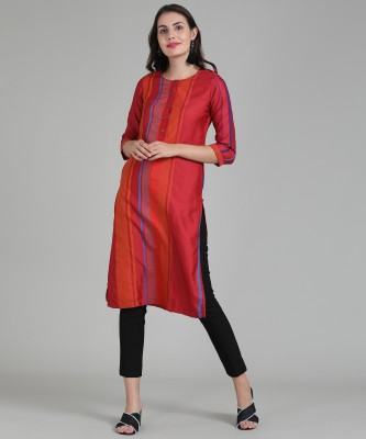 Laabha Women Striped Straight Kurta(Orange)