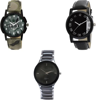 NEUTRON Modish Casual army Green And Black And Color 3 Watch Combo (B21-B38-B68) For Boys And Men New Unique Combo Watch  - For Boys