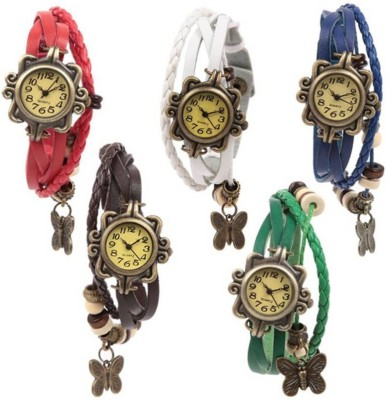 FabSale Rakhi Butterfly Vintage Multicolour Leather Strap Combo Pack Of - 5 For Women And Girls Analog Watch  - For Girls