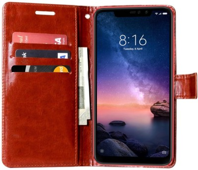 Krofty Flip Cover for Mi Redmi 6A(Coffee, Dual Protection)